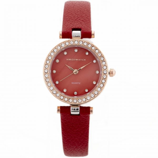 Hwgo Red Leather Women's Watch 20008