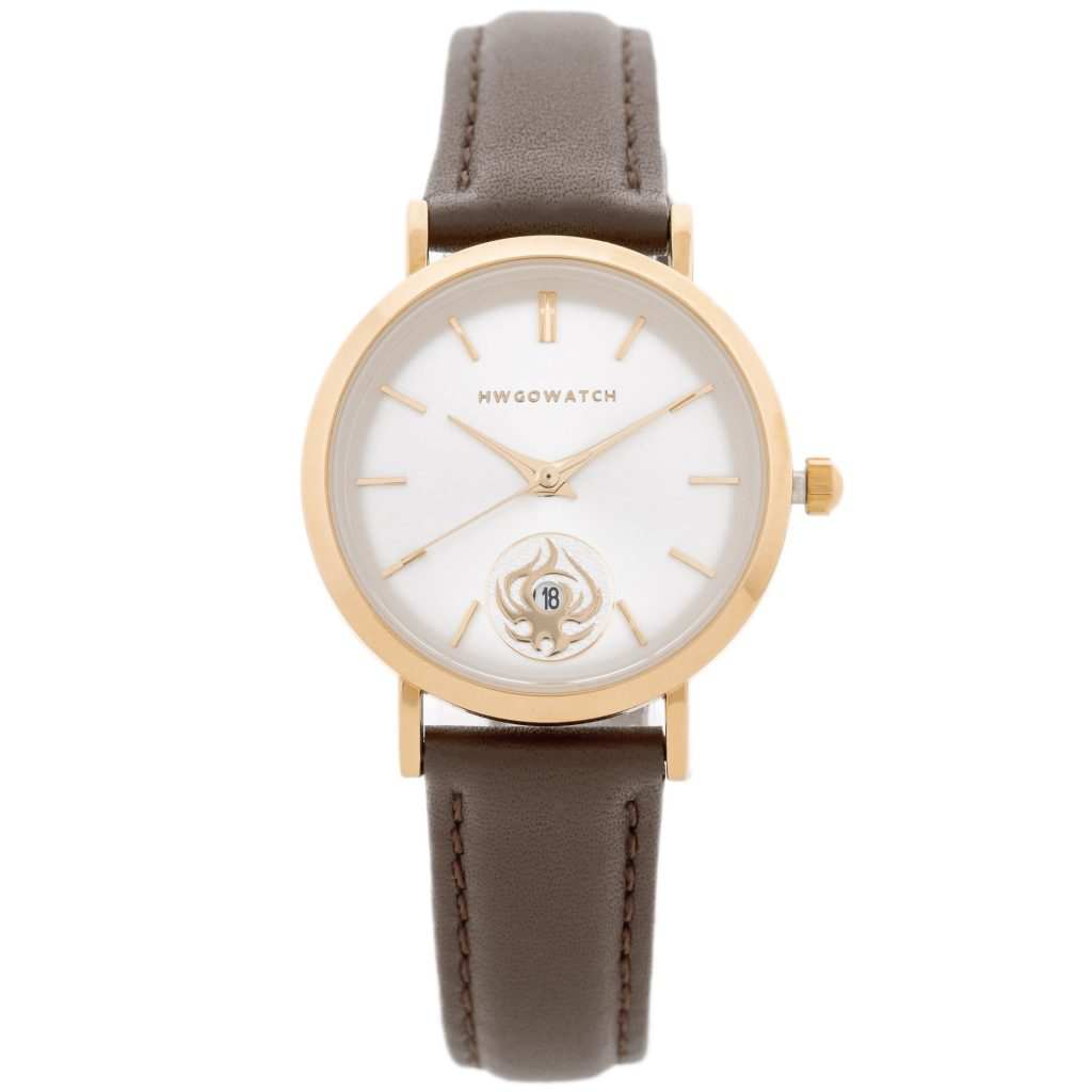 Hwgo Rose Gold Women's Watch, Brown Leather, 20028