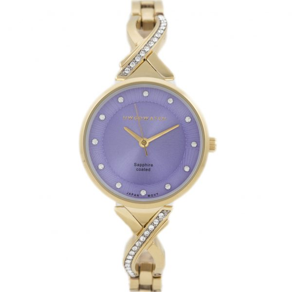 Hwgo Gold Women's Watch, Purple Dial, 9070