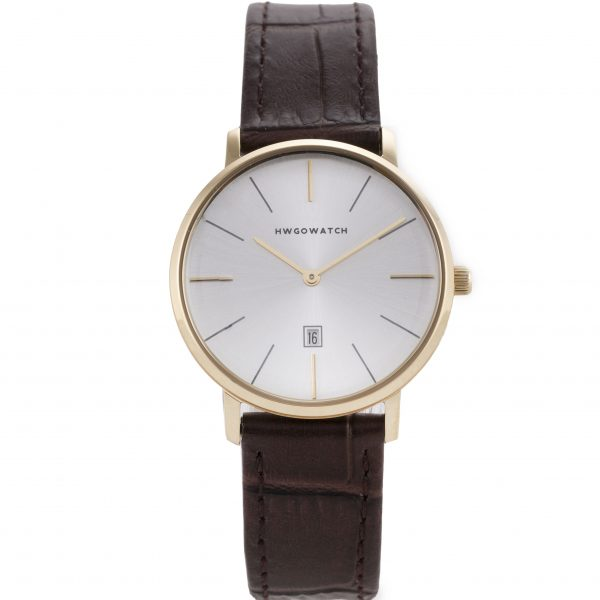 Hwgo Gold Women's Watch, Brown Leather, 20004